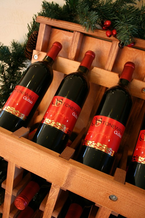 Glogg wine on display at Pedernales Cellars in Texas