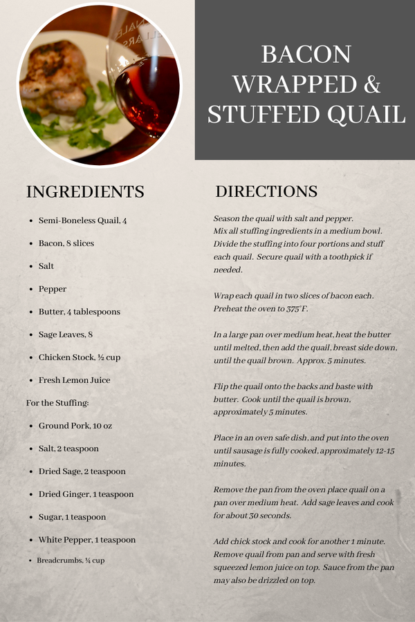 Bacon Wrapped Quail Recipe - Food and Wine Pairing